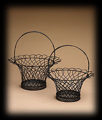 Antique Copper French Wire Baskets Boyds Bear
