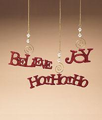 Believe, Joy & Ho Ho Ho Ornament Set Boyds Bear