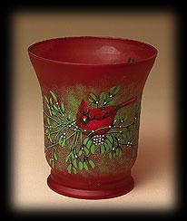 Glass Cardinal Vase Boyds Bear