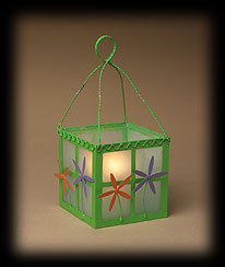 Green Flowers And Herbs Glass Lantern Boyds Bear