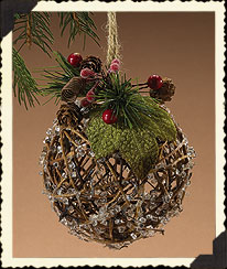 Holiday Homestead Rustic Iced Ball Ornament Boyds Bear