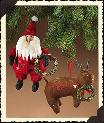 Holiday Homestead Santa & Reindeer Ornaments Boyds Bear