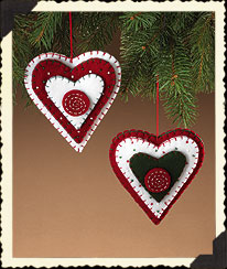 Homespun Felt Heart Ornaments Boyds Bear