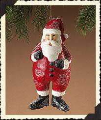 Kringlebeary Paper Pulp Santa Ornament Boyds Bear