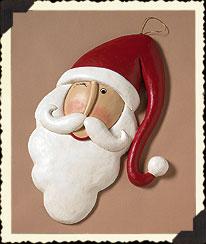 Kringlebeary Papier-mache Santa Plaque Boyds Bear