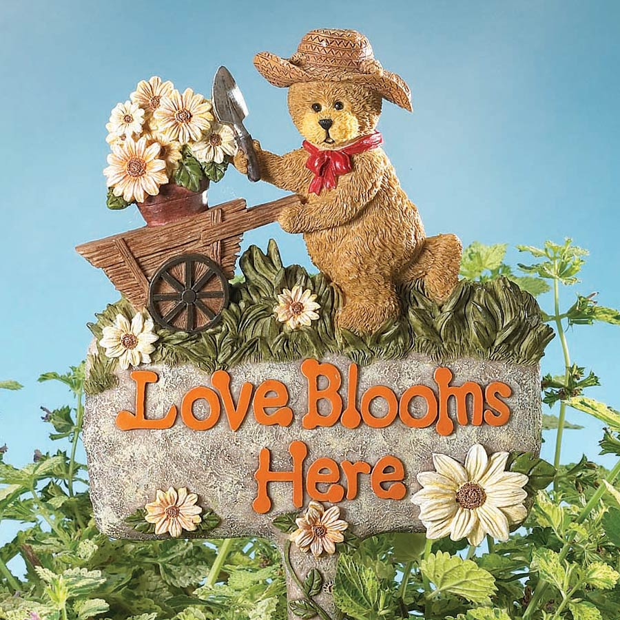 Love Blooms Here Garden Stake Boyds Bear