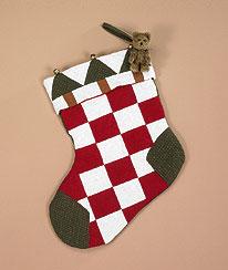 Pine Patchwork Jingle Stocking & Bear Boyds Bear
