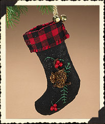 Pinecone Accented Stocking Ornament Boyds Bear