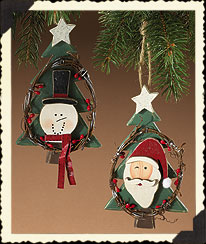 Santa And Snowman On Tree Ornaments Boyds Bear