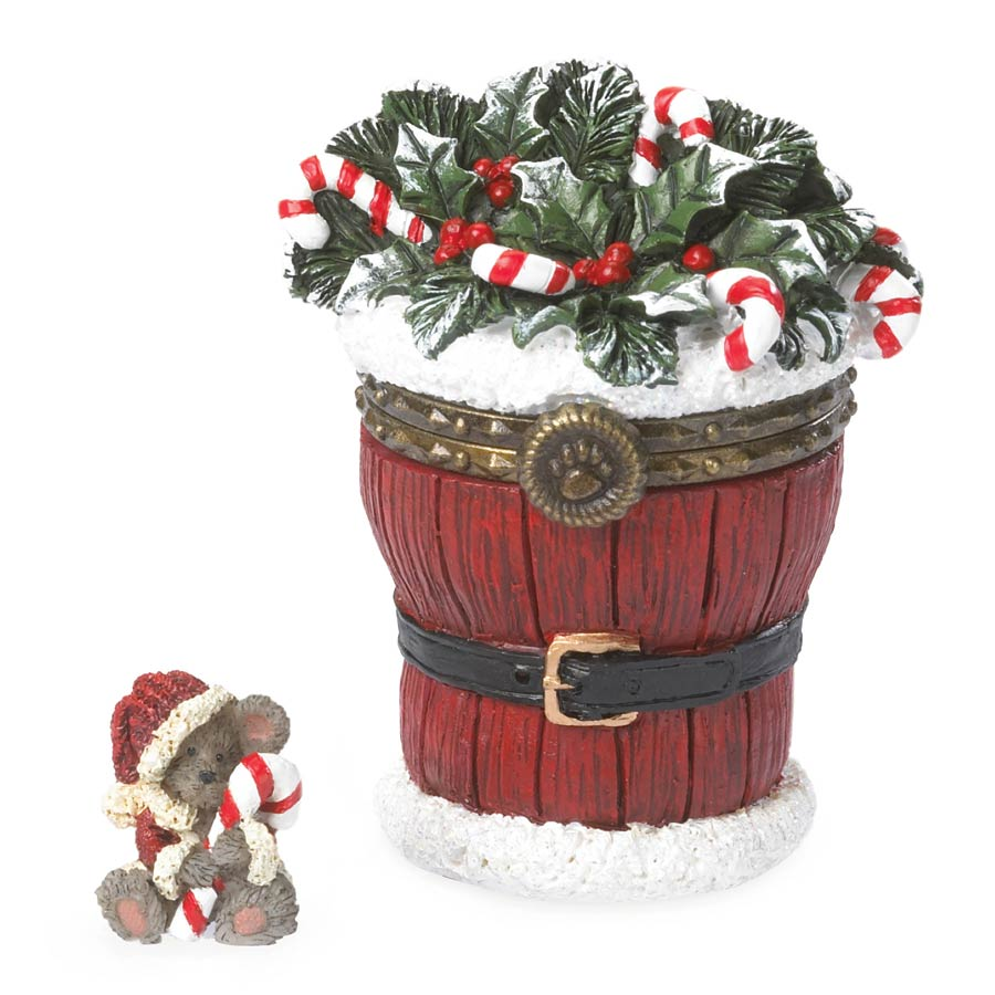 Santa's Festive Basket With Sticky Mcnibble Boyds Bear