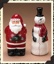 Snowman & Santa Salt & Pepper Shakers Boyds Bear