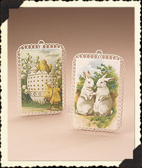 Vintage Easter Postcard Hanging Plaque Set Boyds Bear