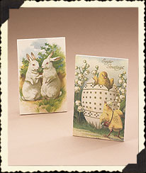 Vintage Easter Postcard Table Plaque Set Boyds Bear