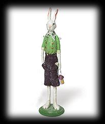 Vintage Garden Folk Art Standing Boy Rabbit Boyds Bear