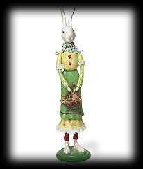 Vintage Garden Folk Art Standing Girl Rabbit Boyds Bear