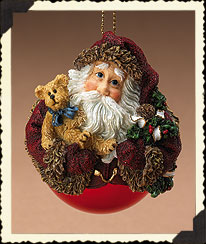 Woodland Santa On Glass Ball Ornament Boyds Bear