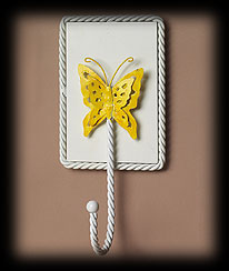 Yellow Wall Hook With Butterfly Accent Boyds Bear